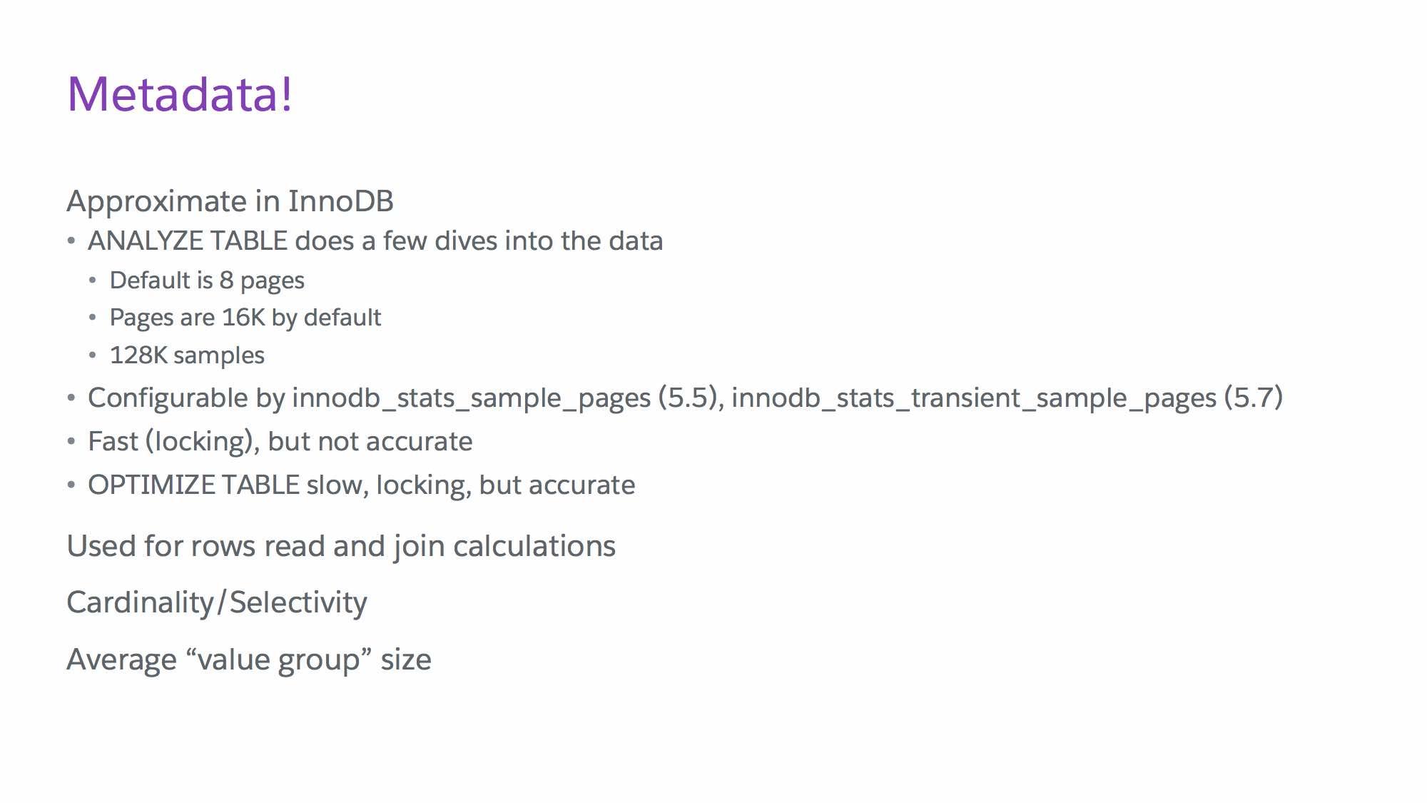 Slide from MySQL indexing talk